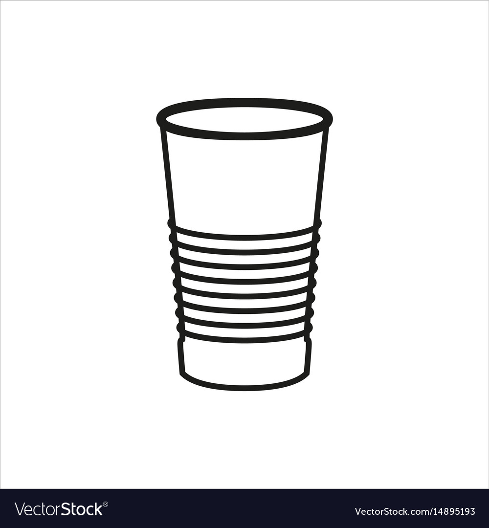 Paper or plastic glass icon on white background vector image