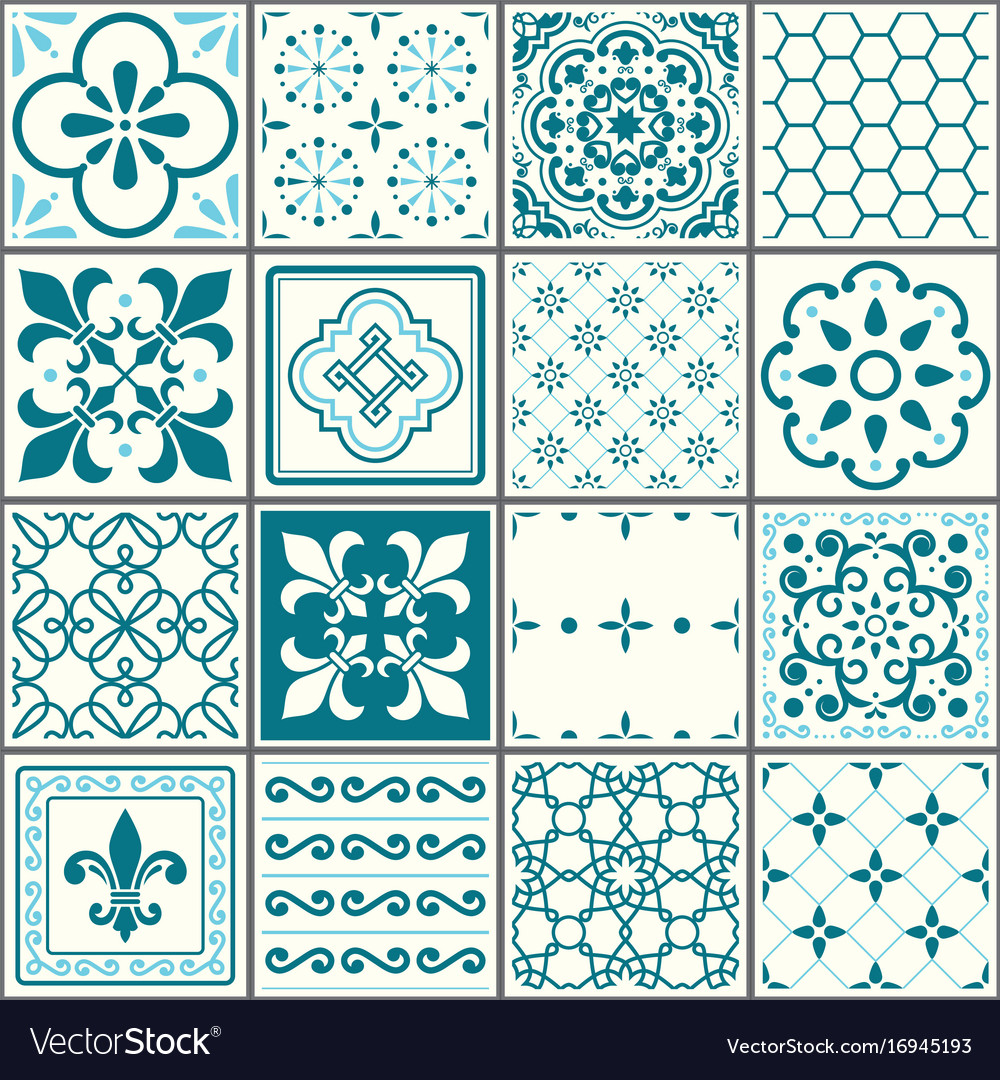 Portuguese tiles pattern lisbon seamless turquois Vector Image