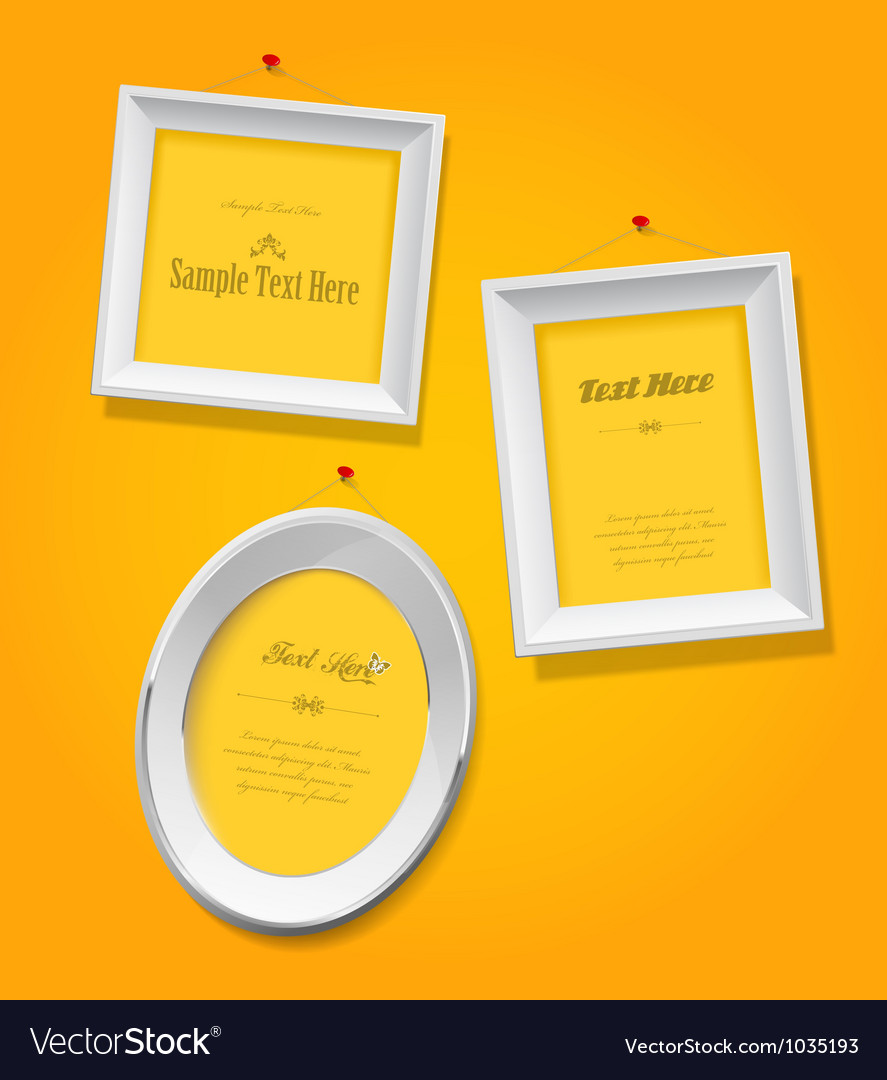 Set of empty picture frames for your own vector image