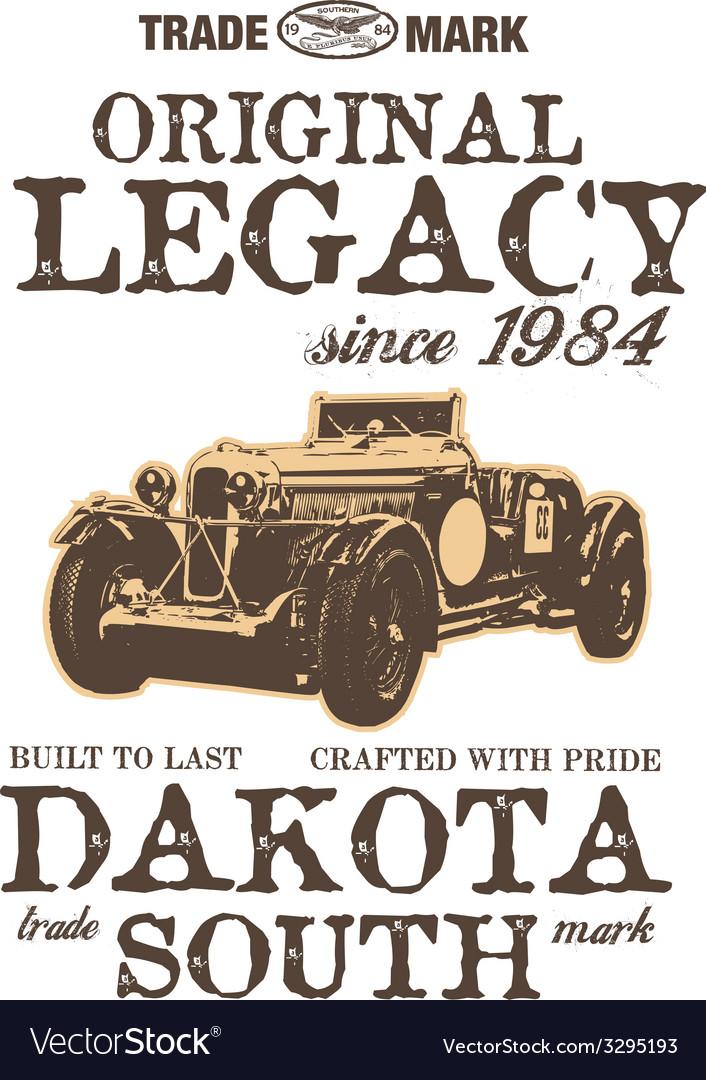 Vintage car graphic design print vector image