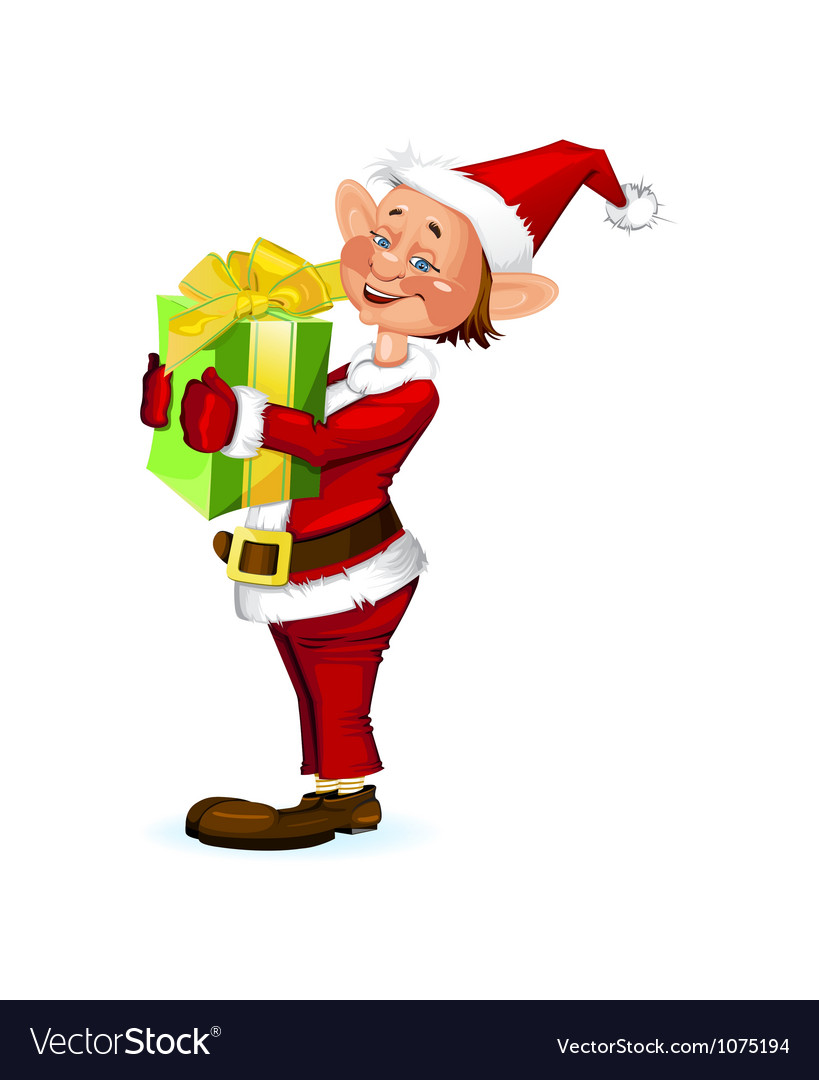 Cute Christmas elf holding a present box vector image