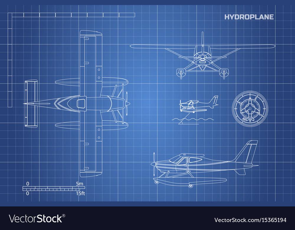 Engineering blueprint of plane hydroplane vector image malvernweather Choice Image