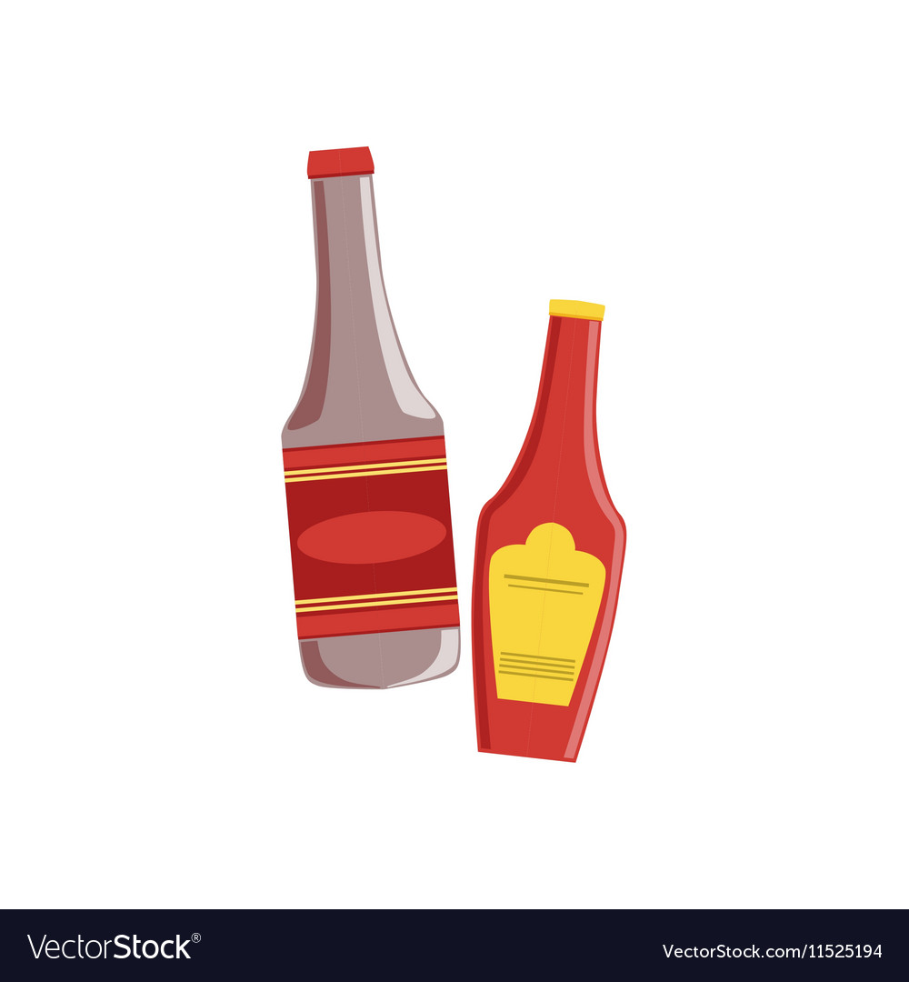 Ketchup And Sauce Set Of Pizza Ingredients vector image