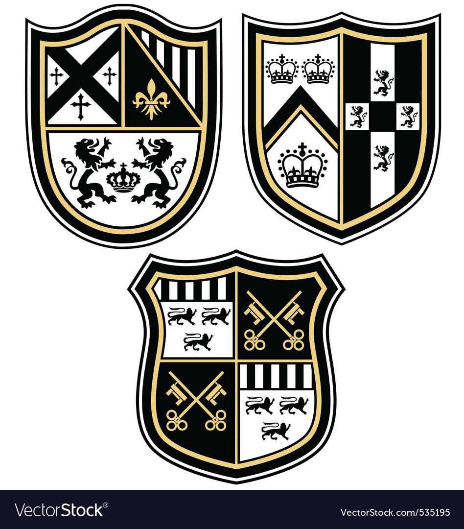 Heraldic emblem crest shield vector image