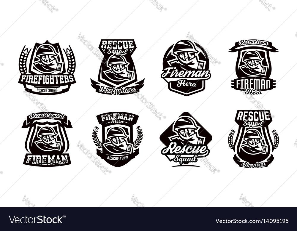 A set of logos emblems a fireman in a gas mask vector image