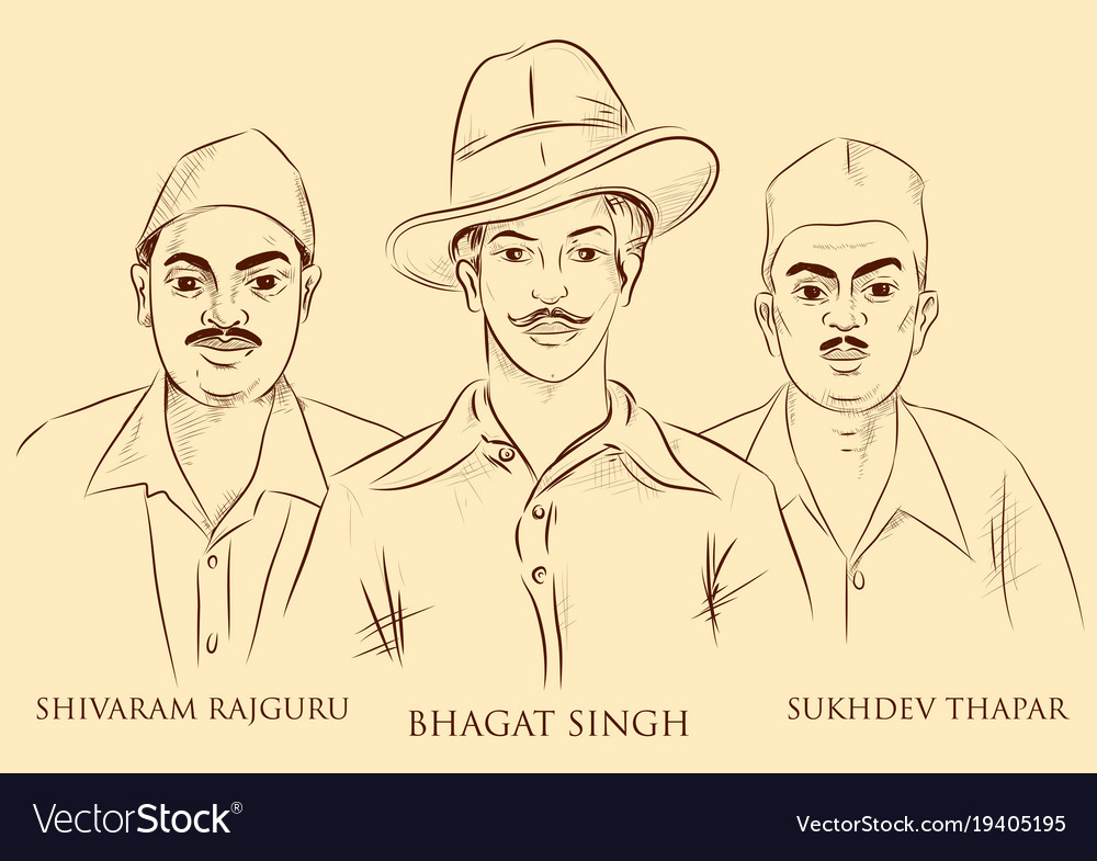 Indian background with nation hero freedom fighter vector image