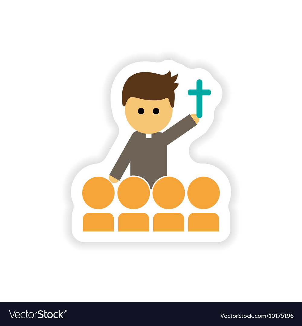 Paper sticker on white background Christian priest