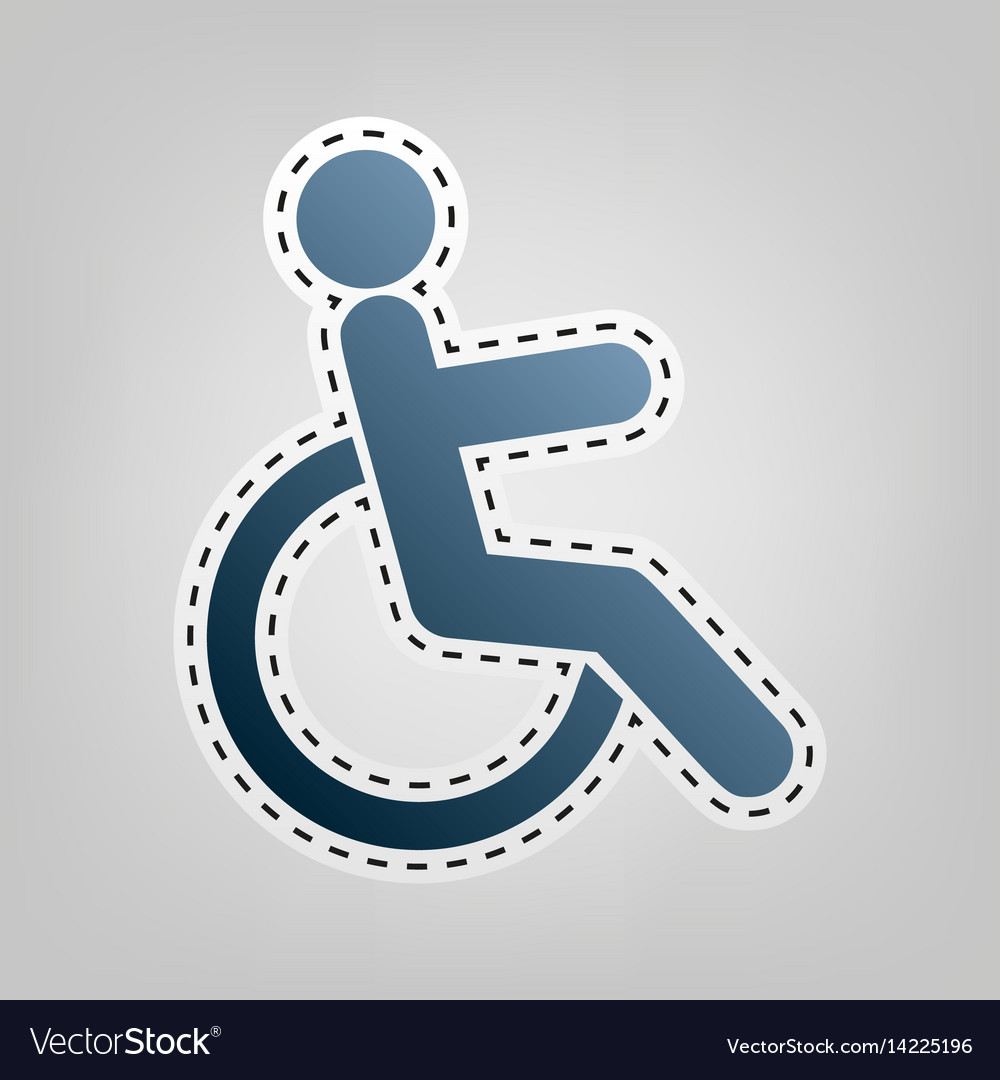 Disabled sign blue icon with vector image