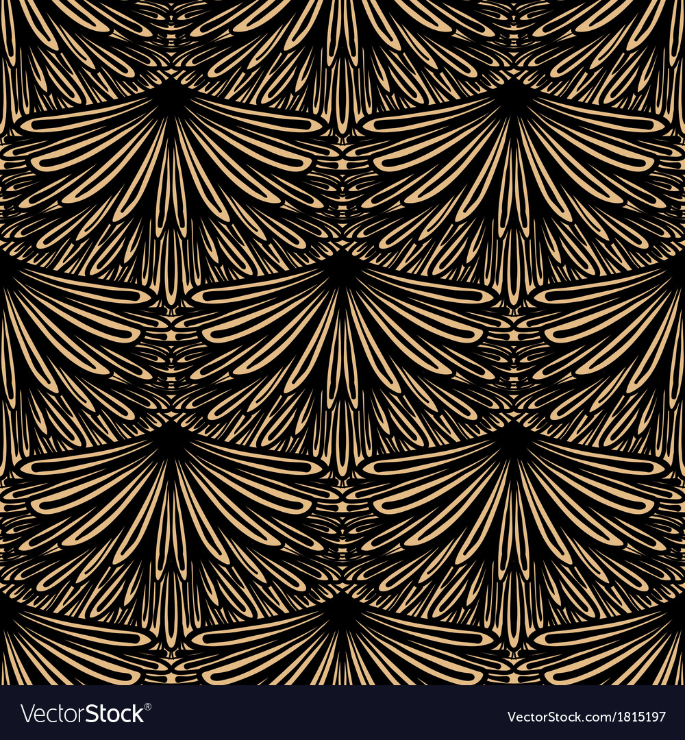 Art deco floral pattern vector image