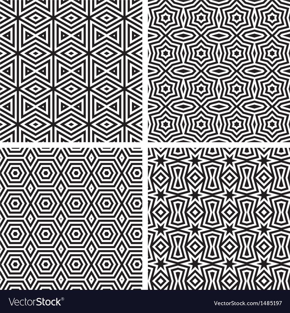 Geometric Ornaments Pattern Set vector image