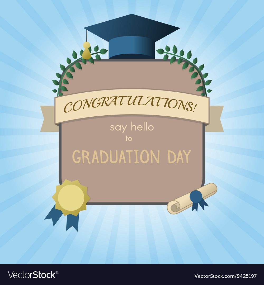 Graduation Invitation Postcard or Certificate vector image