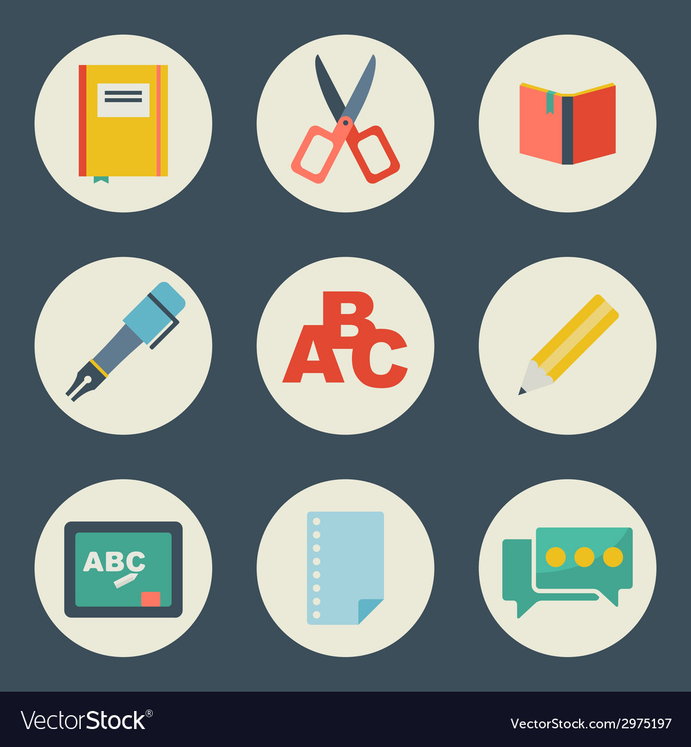 School and education icons flat design set vector image