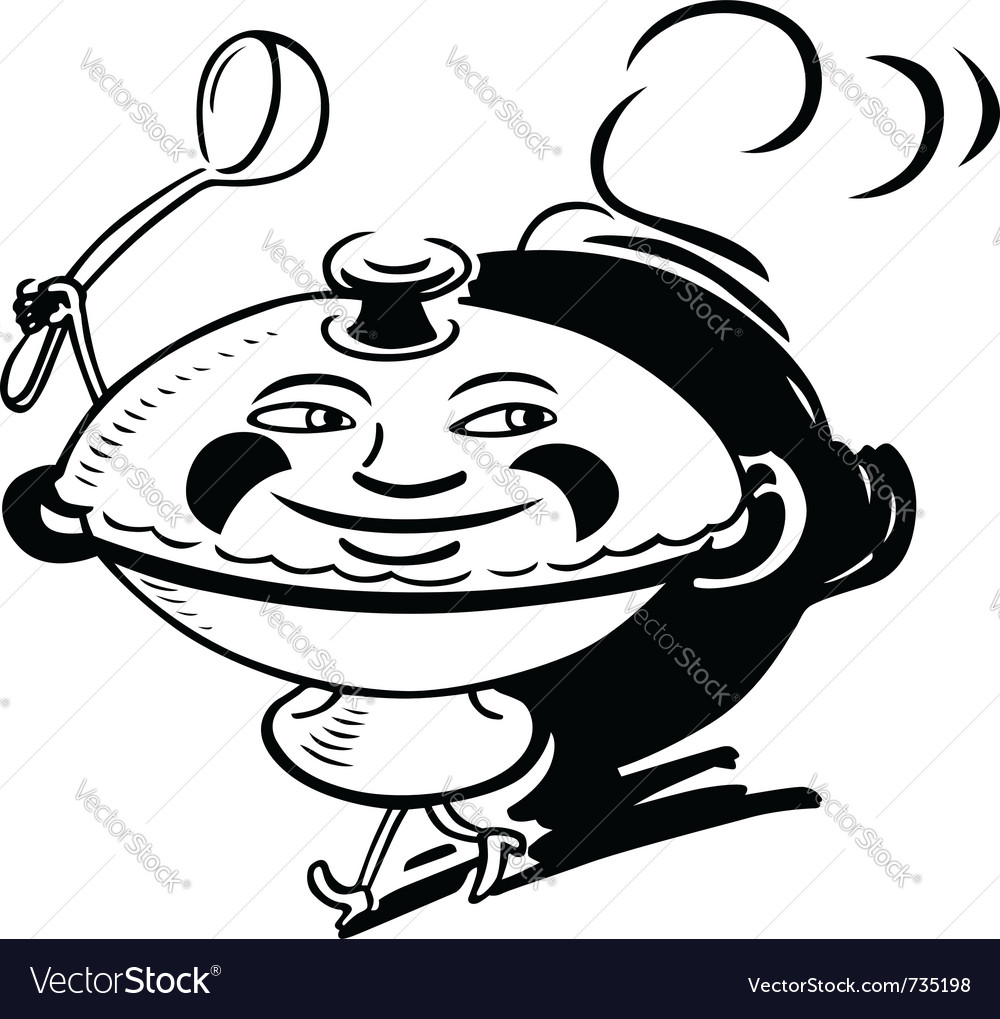 Smiling cooking pot vector image