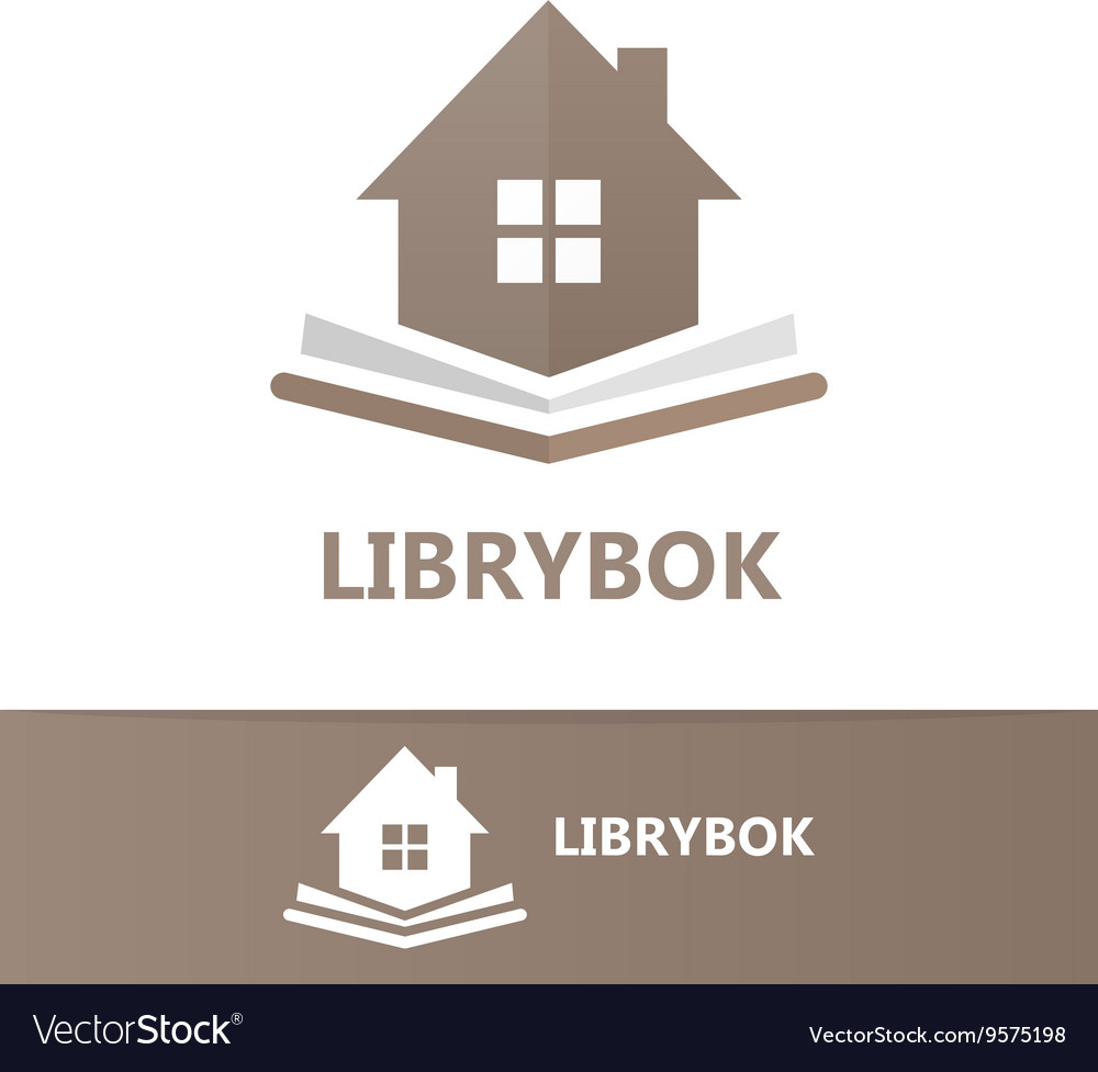 Book and house logo concept vector image