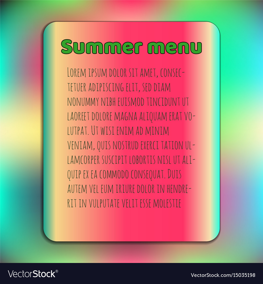 Bright summer menu cover template watermelon vector image