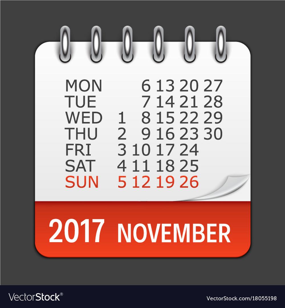 daily calendar november 2017
