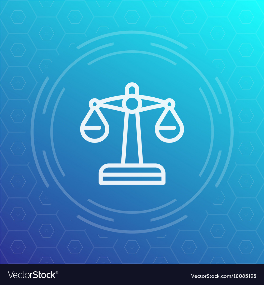 Scales linear icon risk or justice symbol vector image