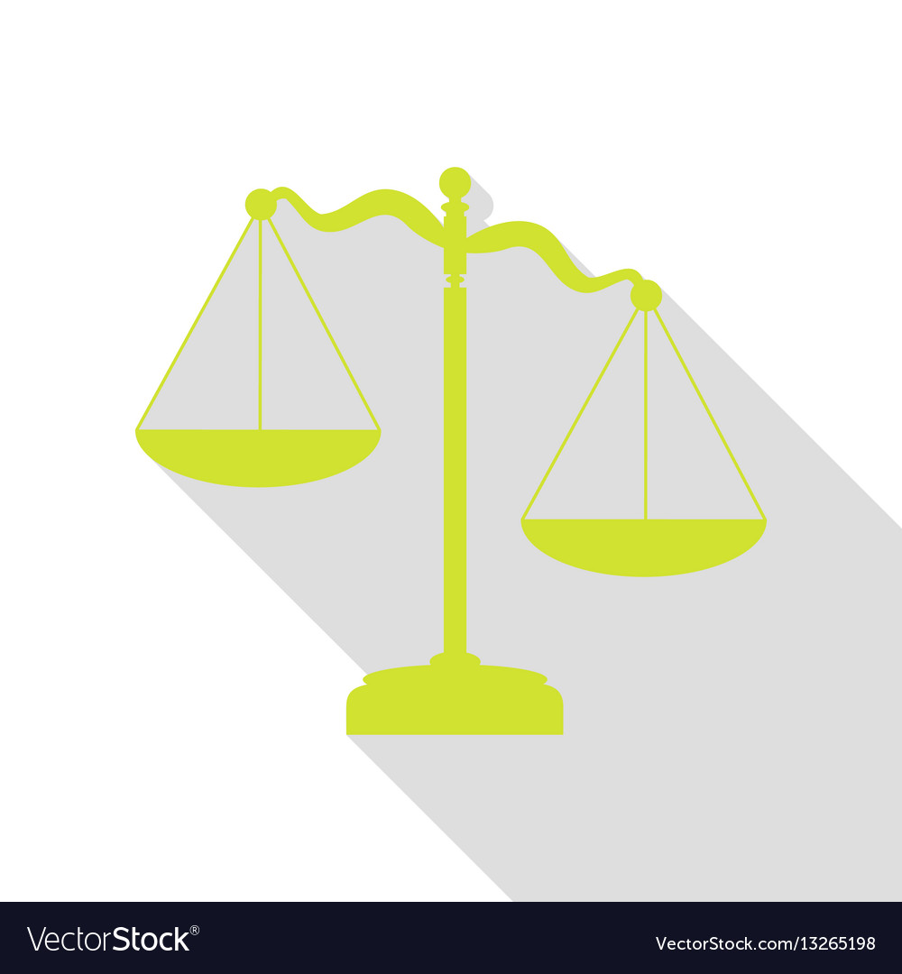Scales of justice sign pear icon with flat style vector image