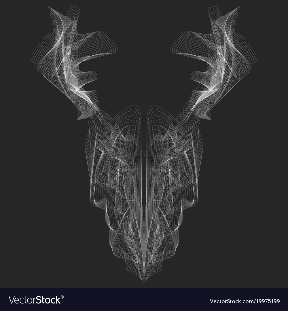 X Ray Line Drawing : Abstract graphic animal head ray line art for vector image