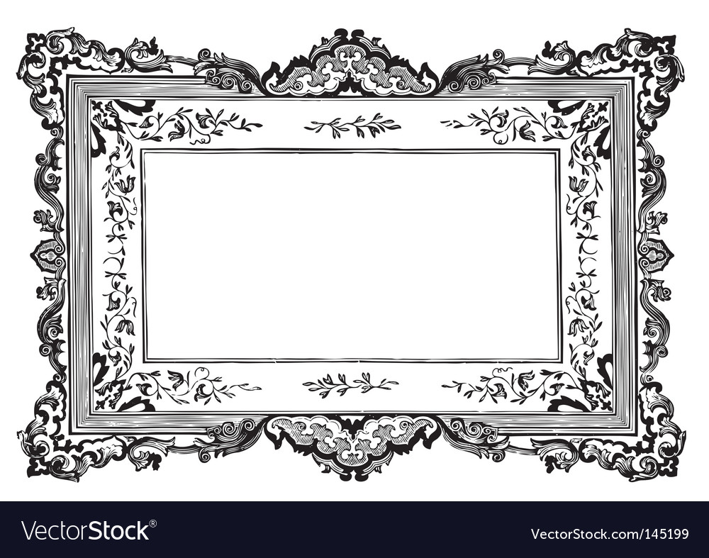 antique frame engraving vector image - Engraved Picture Frame