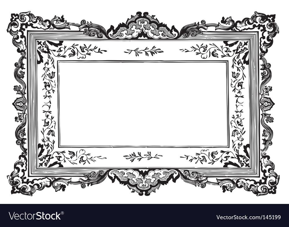 antique frame engraving vector image - Engraved Frame