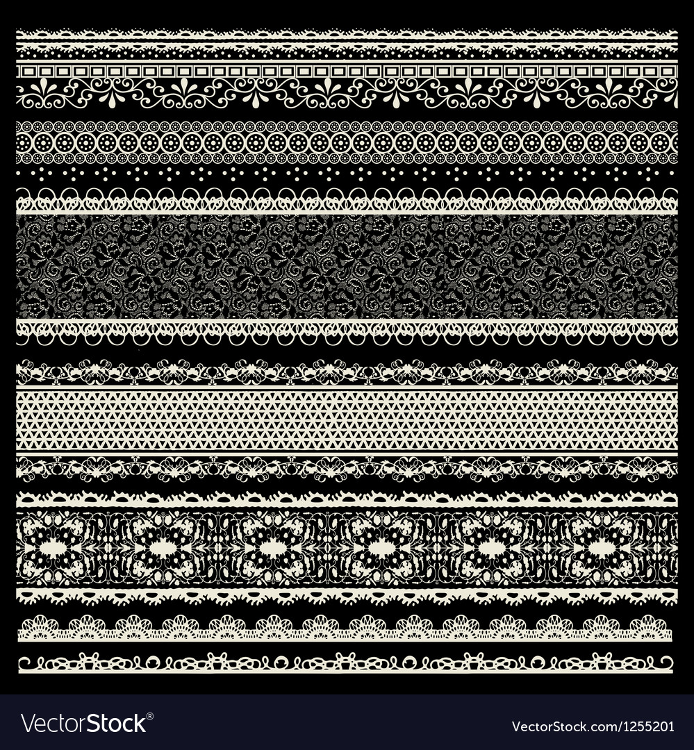 Set of lace trims vector image