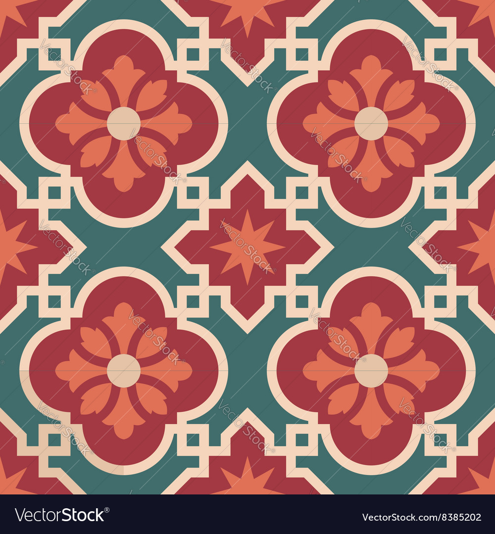 Ceramic Moroccan mosaic tile pattern with flower Vector Image