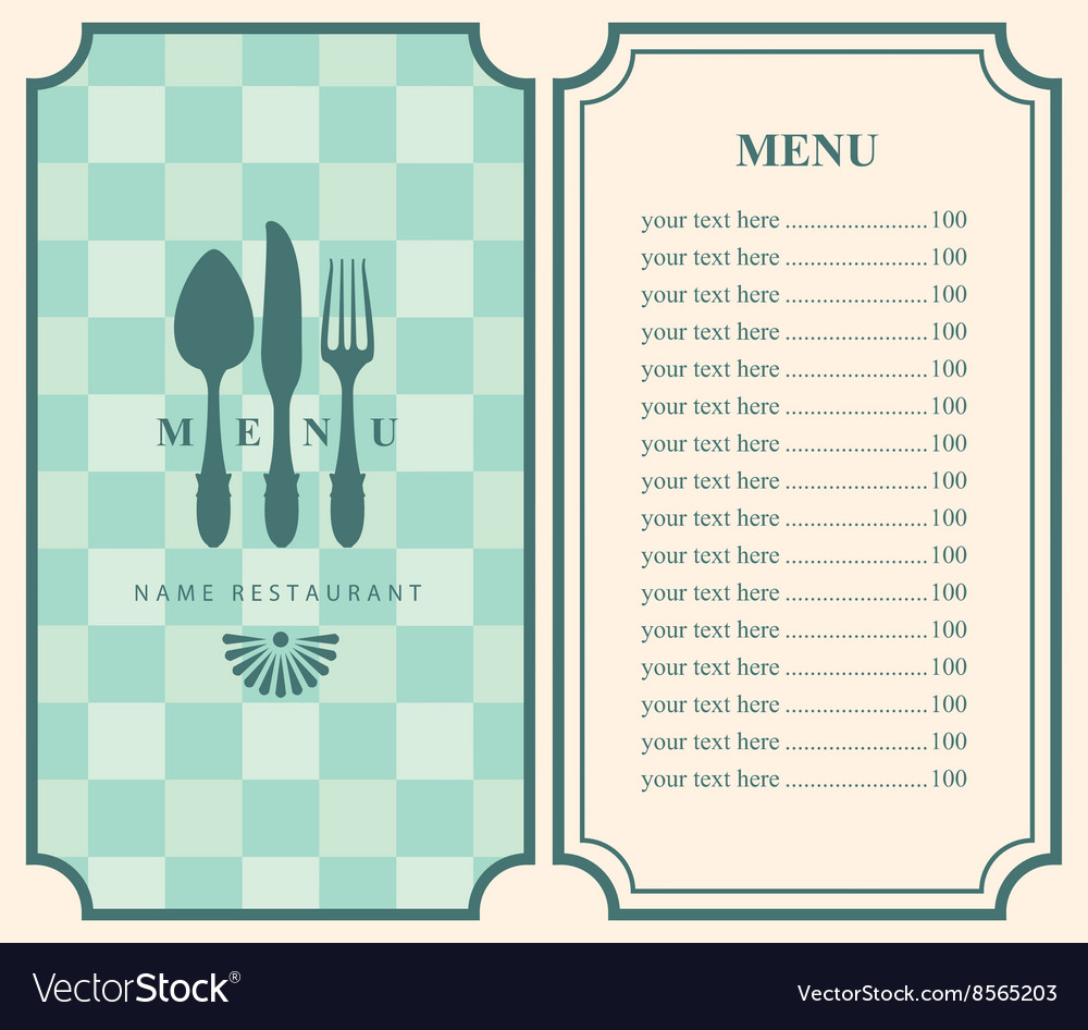 Menu template with cutlery vector image