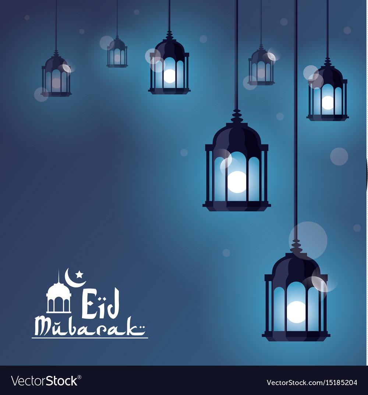 Eid mubarak greeting with beautiful illuminated vector image eid mubarak greeting with beautiful illuminated vector image kristyandbryce Choice Image
