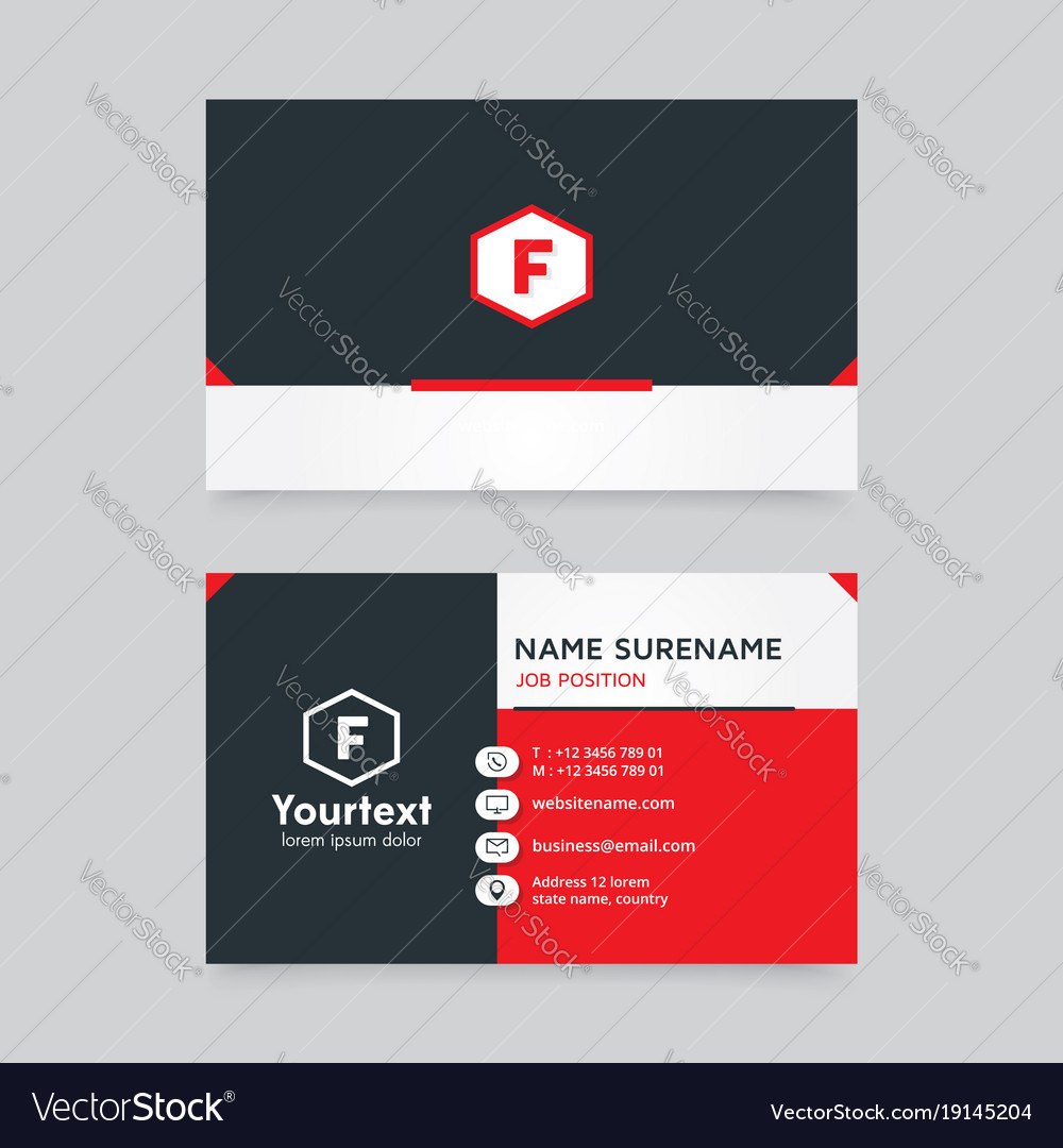 Flat design business card with black and red color
