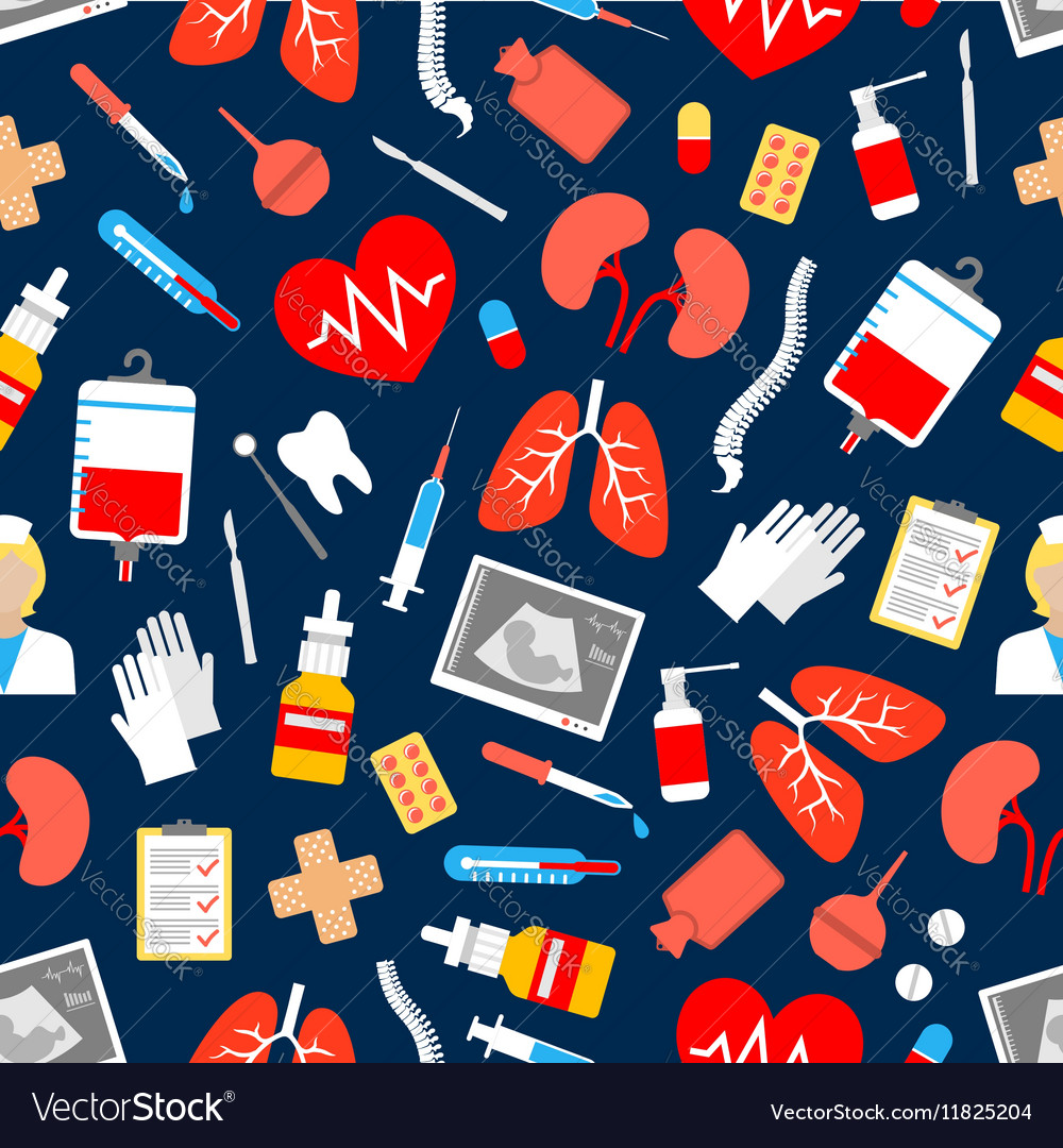Medicine and healthcare seamless pattern vector image