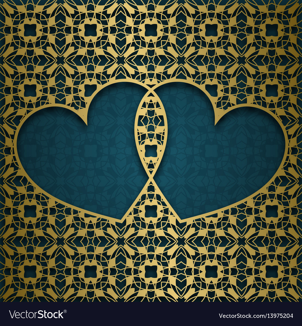 Ornamental background with frame of two hearts vector image
