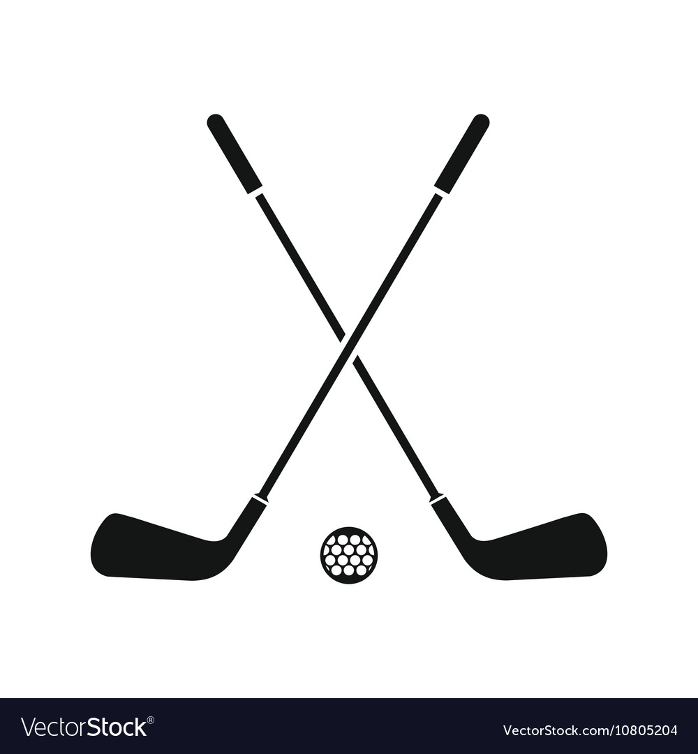 Two crossed golf clubs and ball icon simple style vector image