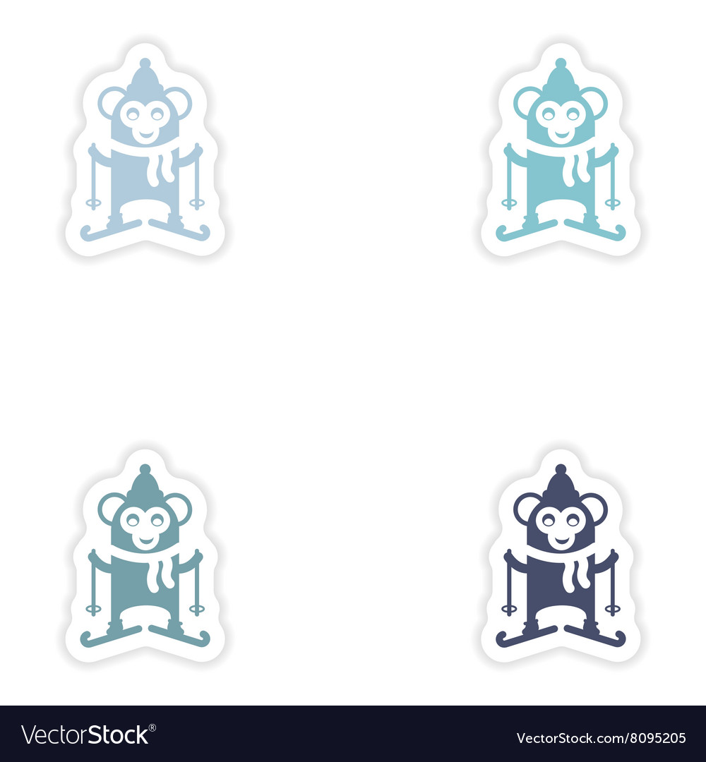 Set of paper stickers on white background Monkey