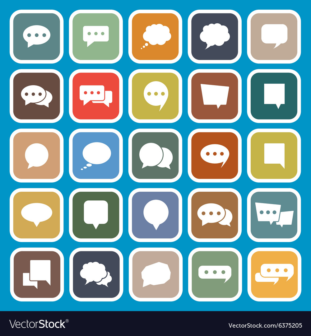 Speech Bubble flat icons on blue background vector image