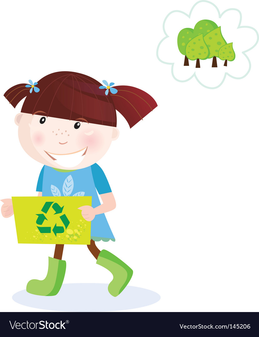 Recycle child vector image