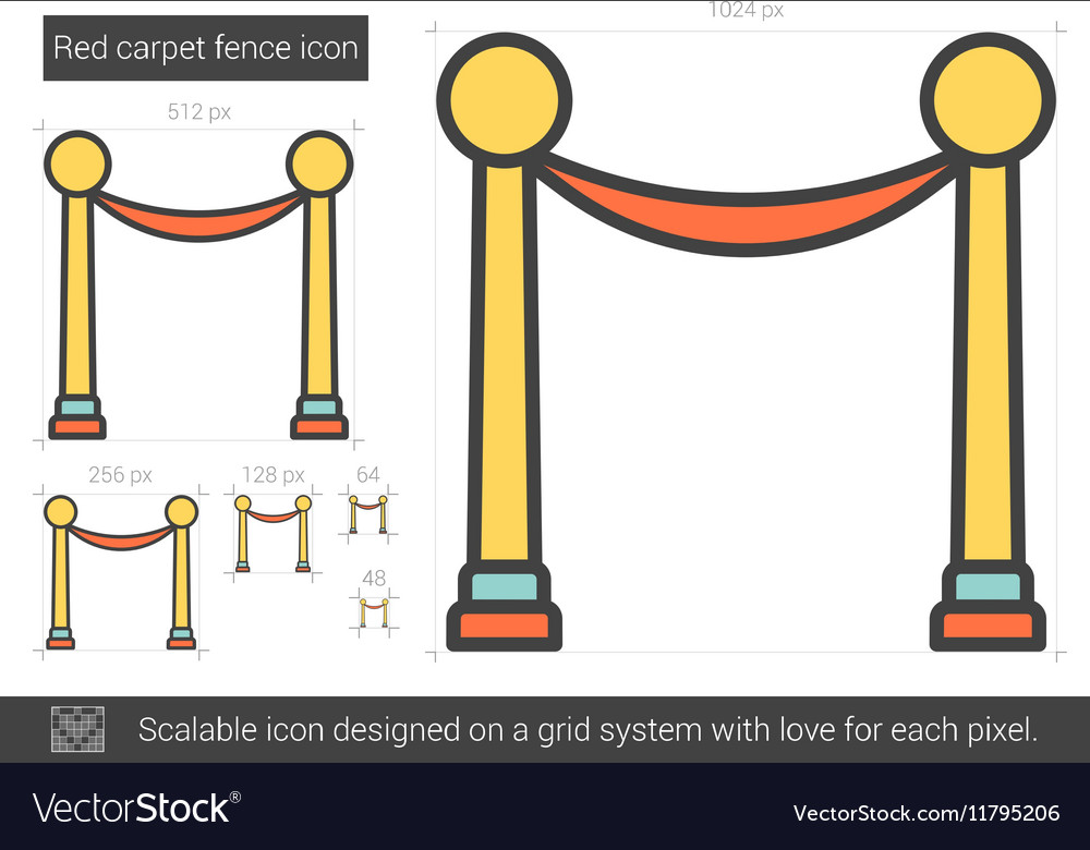 Red carpet fence line icon vector image