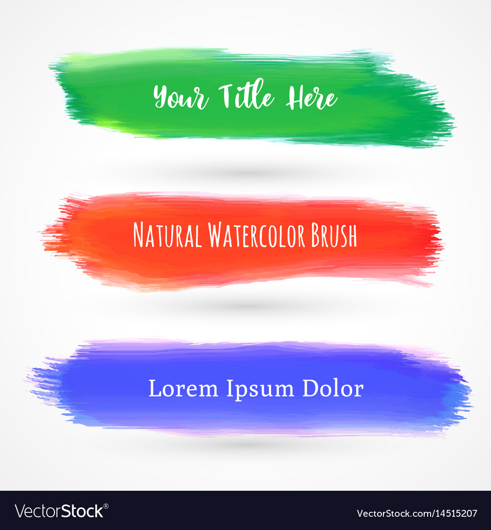 Set of three watercolor brushes vector image