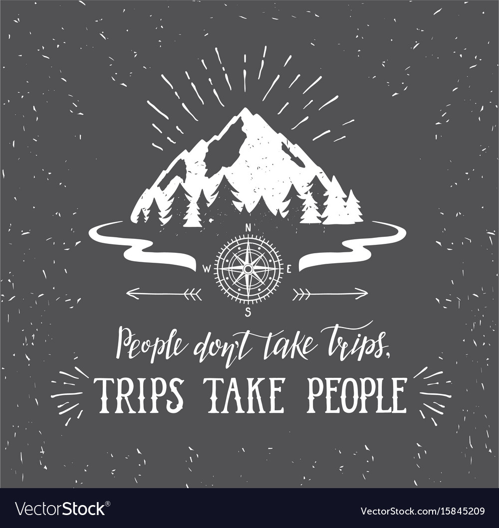 Mountain and forest wanderlust poster vector image