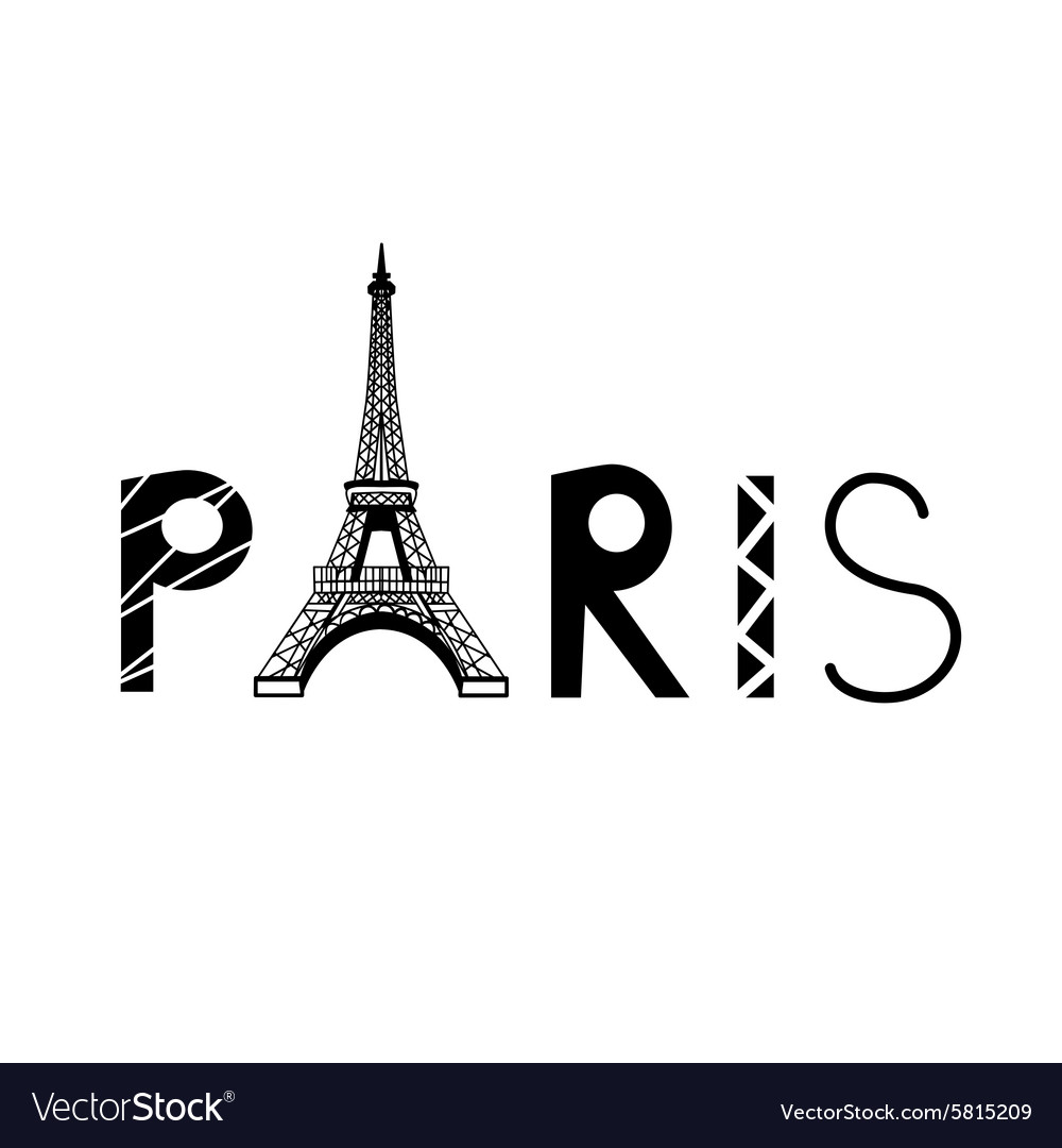 paris sign with eiffel tower royalty free vector image