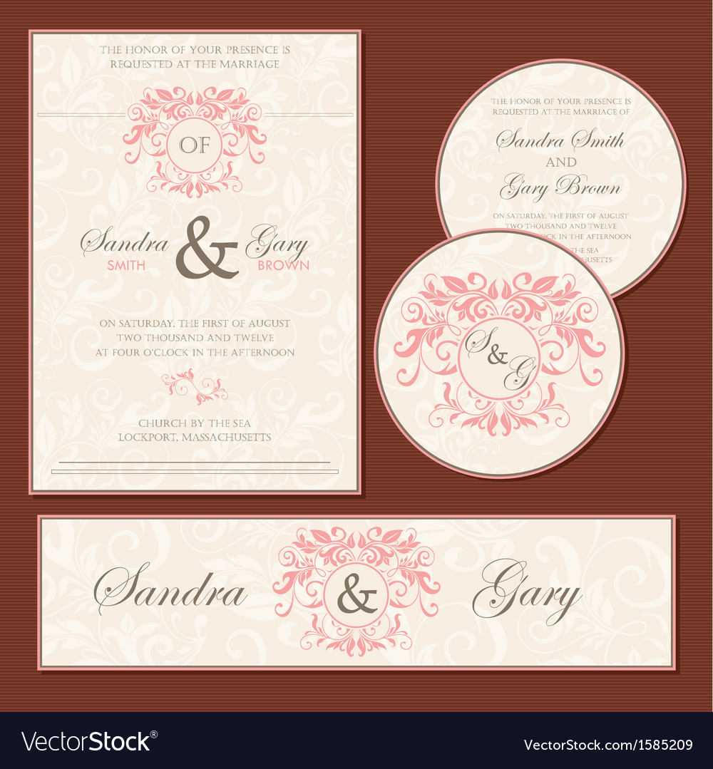 Vintage wedding cards vector image