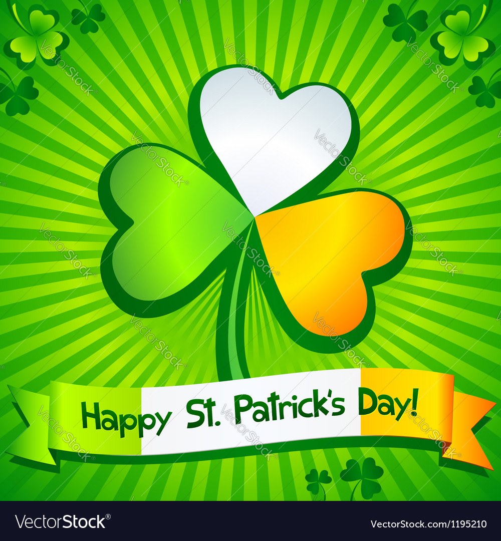 Saint Patricks Day clover greeting card vector image