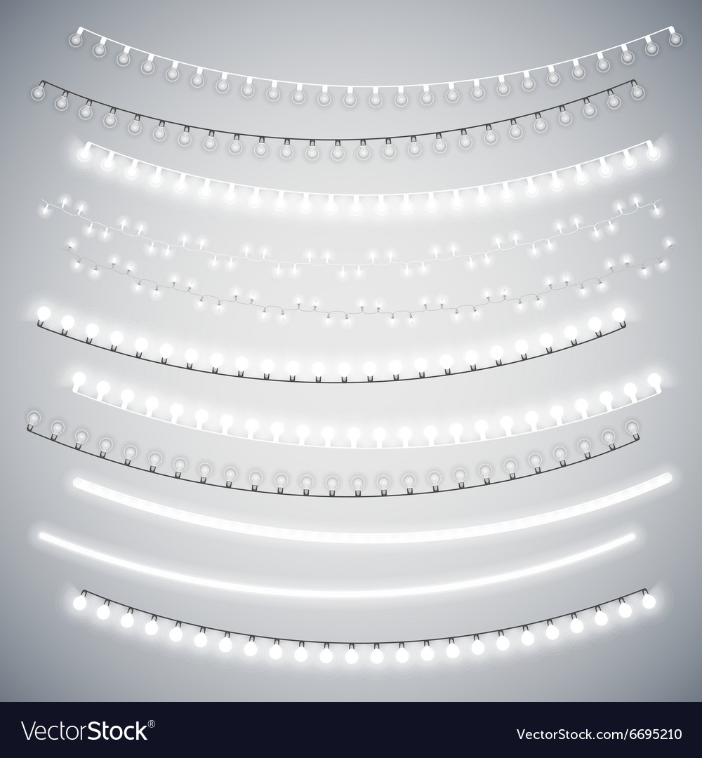 White Christmas Electric Garlands Set vector image