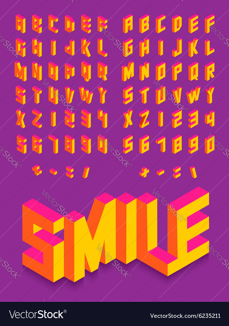 Isometric 3d font colorful isolated background vector image