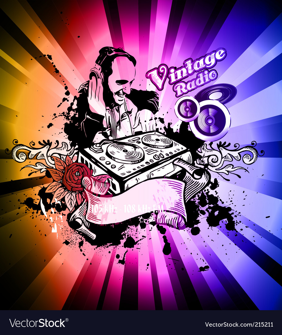 Old vintage style disco flyer vector image