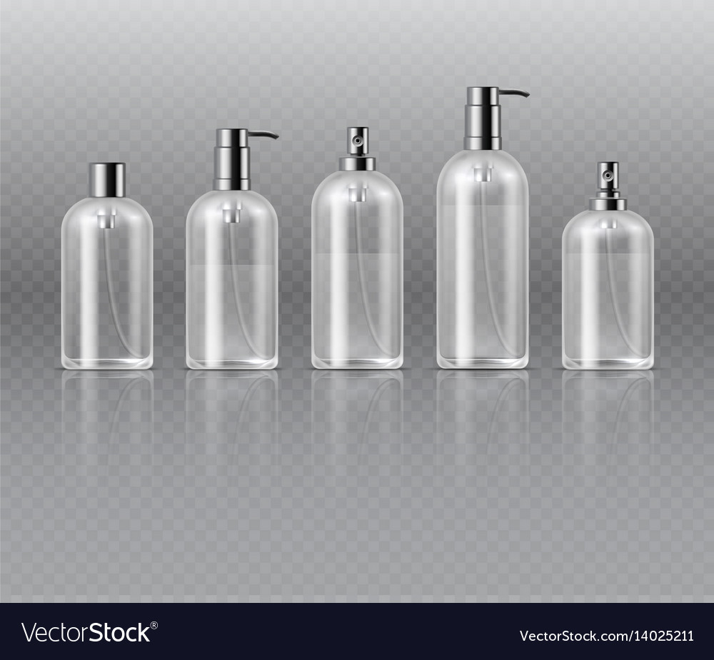 Transparent cosmetic perfume bottles with pump vector image