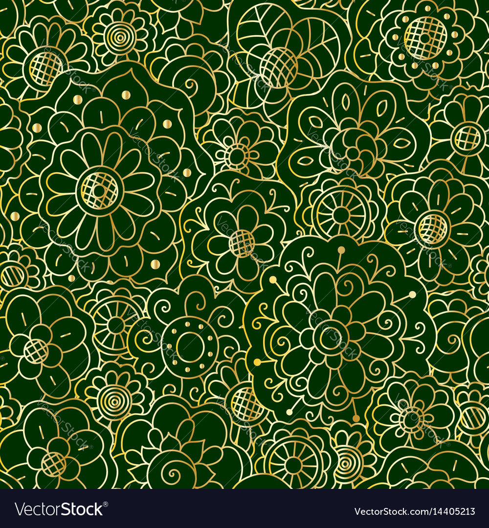 Decorative golden floral mandala seamless pattern vector image