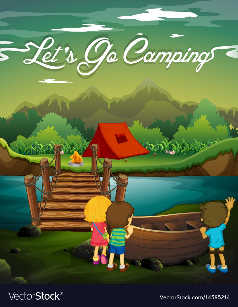 Scene with kids camping by river vector image