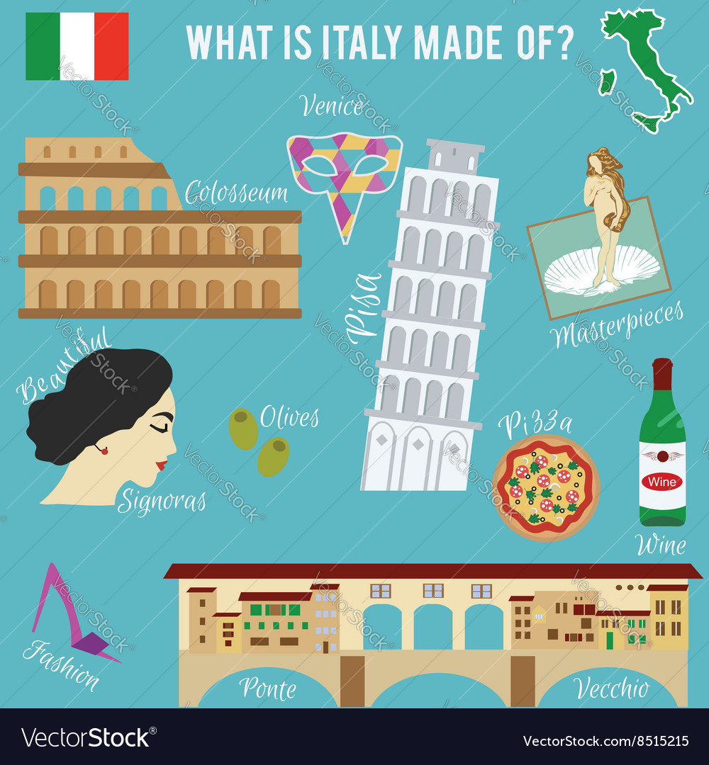 Italy travel set Famous places and symbols of vector image