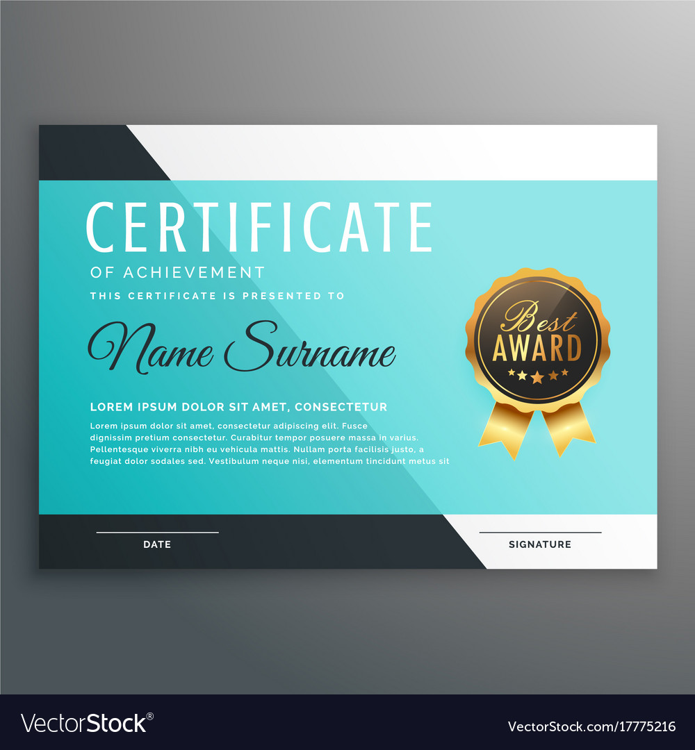 Elegant blue certificate template design vector image yadclub Gallery